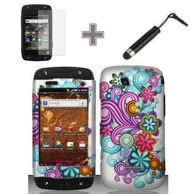 (3 Items Combo : Case - Screen Protector Film - Stylus Pen) Rubberized Silver Blue Purple Pink Yellow Wave Flower Polka Snap on Design Case Hard Case Skin Cover Faceplate for Samsung T839 Sidekick 4G T-Mobile ()
