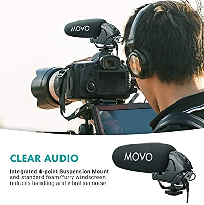 Movo VXR3030 Camera Shotgun Microphone Recorders Mirrorless and Camcorders Supercardioid Microphone with Headphone Monitoring for DSLRs