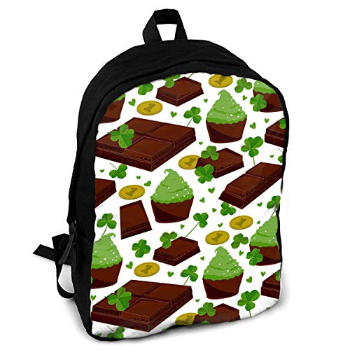 St. Patrick's Day Shamrock Golden Coins Chocolate Interest Print Custom Unique Casual Backpack School Bag Travel Daypack Gift -
