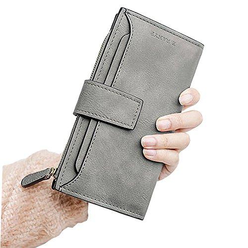 Women Leather Long Wallet (Gray) - 5