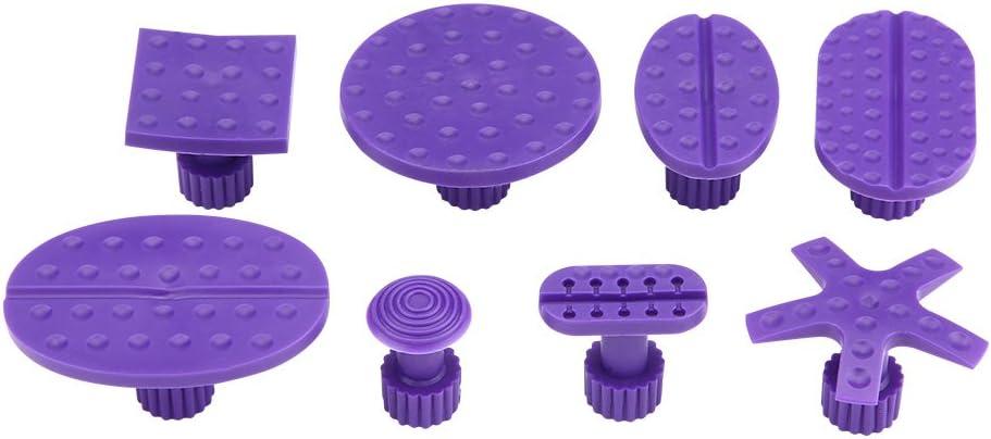 8 Violet Sucker Outil de R/éparation de D/ébosselage pour Carrosserie sans Peinture Removal De Dent De Paintless avec 1 T-Barre Rouge Extracteur