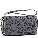XeYOU Womens Double Zipper Long Clutch Wallet Card Holder Purse with Coin Pocket for Cash, Coin and 5.5 inch Smart Phone (Grey)