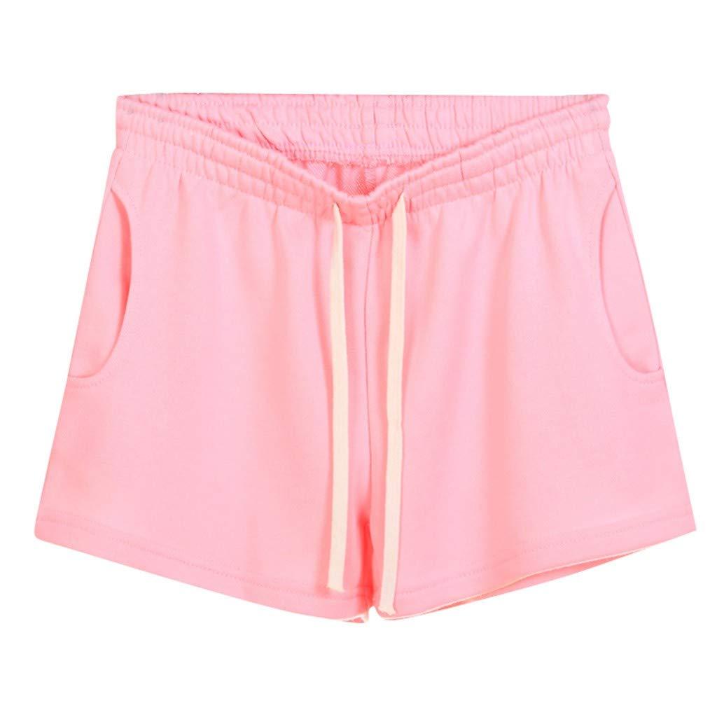 VEZAD Pocket Sweatpants Shorts ,Women Casual Solid Elastic Waist Loose Shorts Gym Sport Pants