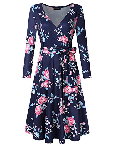 - GlorySunshine Women 3/4 Sleeve Striped Floral Print Empire Waist Long Maxi Dress with Pockets (S, Navy Floral)