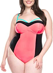f34dcbe17a807 Moxi Blu Women s Plus-Size Caged Colorblock One-Piece Swimsuit