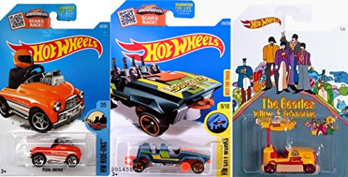 Hot Wheels Carnival Cars Beatles Bump Around & Pedal Driver & Roller Coaster Loopster Cart Fun Rides Series Set #174 Ride-Ons City Works #167 IN PROTECTIVE CASES