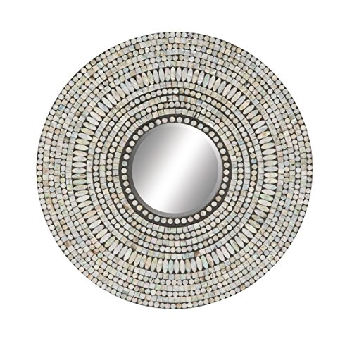 Deco 79 49075 Wood & Shell Inlay - Bathroom Inch 24 Pearl Mirrors Oval