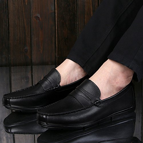 Nero nero Pelle Studio Barca Casuale da Loafers Scarpe di Eleganti SK Uomo Slip da Mocassini Guida Scarpe On HOwnxqIT