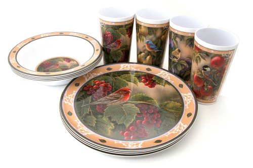 Motorhead Products Wild Wings Gift Boxed 12-Piece Melamine Tableware Sets, Songbird (Bird Round Dish)