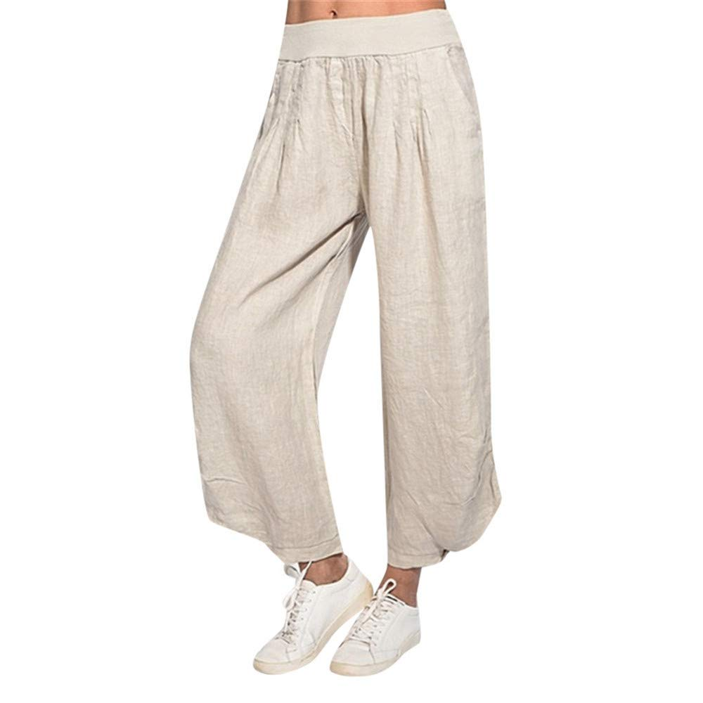 wodceeke Women Loose Pants, Solid Color Casual Cotton Linen Elastic High Waist Wide Leg Pants Trouser (S, Beige)