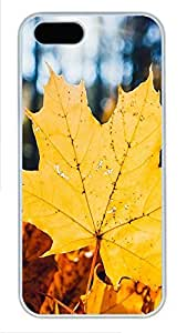 taoyix diy iPhone 5 5S Case Golden Autumn Leaves PC Custom iPhone 5 5S Case Cover White