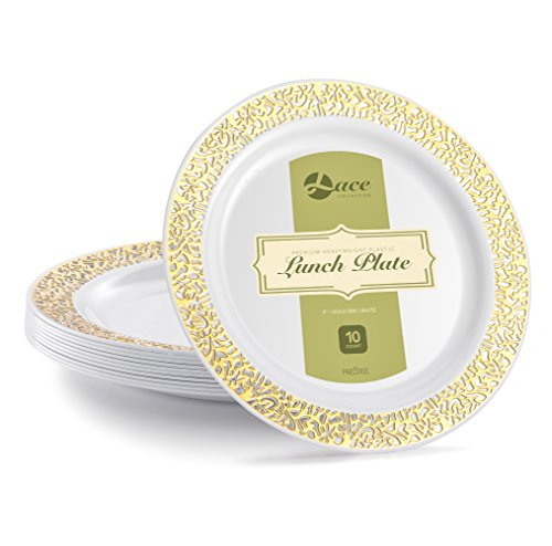 LACE PLASTIC PARTY DISPOSABLE PLATES | 9 Inch Hard Round Wedding Plates for Dinner / Lunch | White with Gold Rim, 20 Pack | Elegant Heavy Duty Party Supplies Plates for all Holidays & Occasion