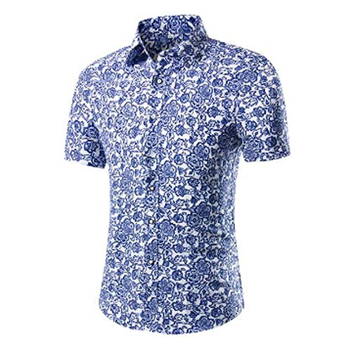 - Mens Short Sleeve Hawaiian Shirt Summer Floral Shirts for Men Asian Size M-3XL 10 Color,DC04,L