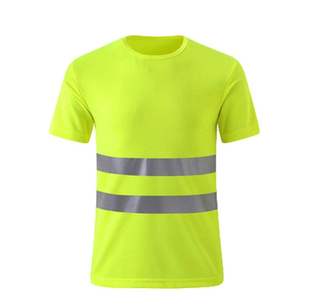 Liveinu Men's High Visibility Shirts Reflective Safety Shirts Moisture Wicking Short Sleeve Hi Vis Running T-Shirt Quick Dry