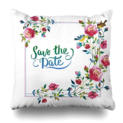 Ahawoso Throw Pillow Covers Fall Border Wildflower Rose Flower Watercolor Alphabet Handwriting Nature Bud Corner Drawing Feather Home Decor Pillowcase Square Size 20