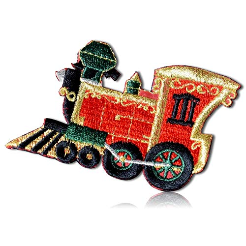 "Unique & Custom {3.3"" x 2"" Inch} 1 of [Glue-On, Iron-On & Sew-On] Embroidered Applique Patch Made of Natural Cotton w/Christmas Holiday Shiny Metallic Steam Train {Red, Green & Gold} + Certificate"