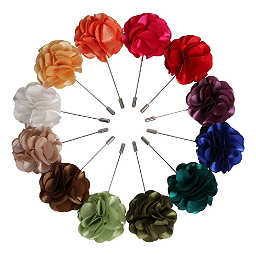 Lapel Pins for Men Handmade Satin Flower Boutonniere Pins for Suit Wedding Pack of 12 (Style ()