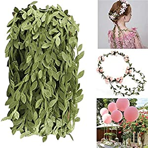 Artificial Vines, 131Ft Artificial Plants Leaves Decor Garland Fake Hanging Silk Ivy Garlands Green Leaves Foliage Flowers Ribbon Wreath for Wedding Party Wall Crafts Party Indoor Outdoor DIY Decor 3