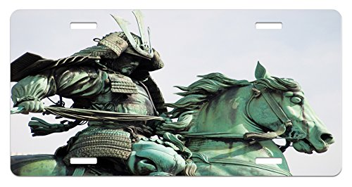 Lunarable Retro License Plate, Samurai Worrior Riding Horse City Park in Tokyo History Travel, High Gloss Aluminum Novelty Plate, 5.88