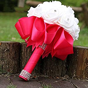 Many Color Bride Bridesmaid Rose Artificial Hands Holding Wedding Flowers Bridal Bouquets for Party Decoration 64