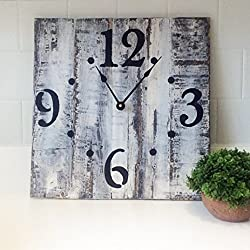 Oversized Very Distressed Finish Solid Wood Wall Clock- White with Black Antique Finish, 20 made by Seeka Decor