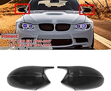 Wing Mirror Cover Cap Replacement Covers Mirror Cover Plain Black M3 Style Rear View Mirror Cap Cover Replacement Fit For BMW 3 Series E90 E91 E92 E93 LCI Pre-LCI 2006-2009 Waterproof and Durable