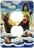 3dRose LLC lsp_21204_6 Mermaid Woman Water Ocean Folk Folklore, 2 Plug Outlet Cover