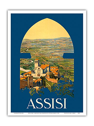ica di San Francesco Church - Vintage World Travel Poster by Vittorio Grassi c.1920 - Master Art Print - 9in x 12in ()