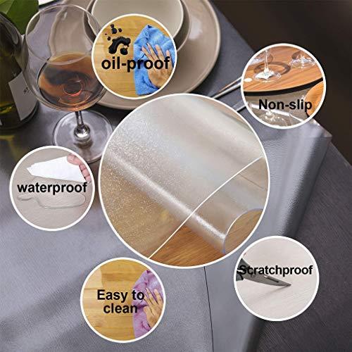 Anpassad multistorlek 1,5 mm tjockt frostat PVC-bordsskydd – träkorn vinyl transparent bordsskydd plast skyddsdyna för matrum bord (storlek: 85 x 135 cm)