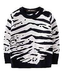 MFrannie Boys Autumn Handsome Tiger Stripe Crew Neck Knitted Sweater