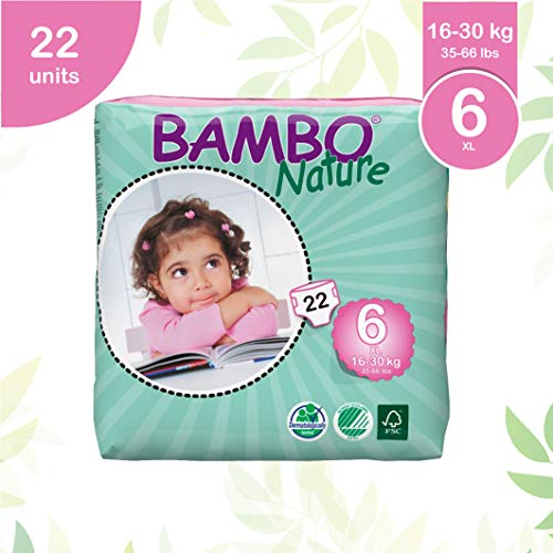- Bambo Nature Eco Friendly Baby Diapers Classic for Sensitive Skin, Size 6 (35-66 lbs), 22 Count