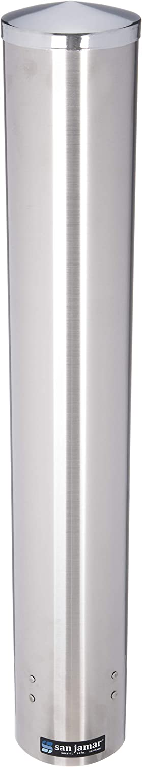 San Jamar C4200PF Stainless Steel Pull Type Foam Beverage Cup Dispenser, Fits 4oz to 10oz Cup Size, 2-3/4