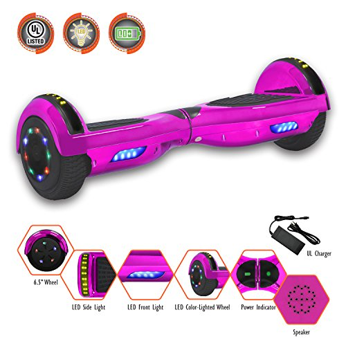 SMART BALANCE 6.5' HOVERBOARD WITH BLUETOOTH - UL 2272 - UN 38.3 SAFETY CERTIFIED PERSONAL TRANSPORTATON (CHROME PINK)