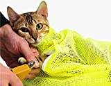 TECH-P Creative Life Adjustable Multifunctional Polyester Cat Washing Shower Mesh Bags Pet Nail Trimming Bags-Yellow For Sale