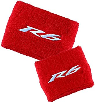 YAMAHA R1 BRAKE//CLUTCH RESERVOIR SOCKS FLUID TANK CUP COVER SET RED/&WHITE