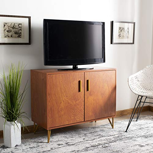(Safavieh CHS2200A Home Collection Pine Natural and Gold 2 Door Modular TV Unit,)