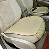 Car Seat Cover, PeleusTech Four Seasons PU Leather Bamboo Charcoal Breathable Comfortable Car Seat Cushion Cover Pad Mat for Auto Car Supplies Office Chair - Beige