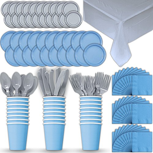 (Paper Tableware Set for 24 - Light Blue & Silver - Dinner and Dessert Plates, Cups, Napkins, Cutlery (Spoons, Forks, Knives), and Tablecloths - Full Two-Tone Party Supplies Pack)