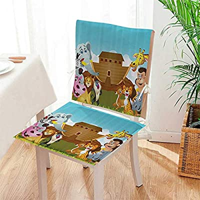 Mikihome Seat Set Cushion Noahs Ark Fore The Journey All Animals Myth ith Grace Old Story 2 Piece Classic Decorative Chair pad Mat:W17 x H17/Backrest:W17 x H36