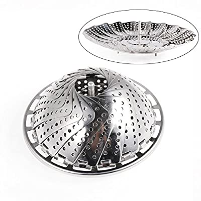 """Vegetable Steamer Basket, Newness Folding Vegetable Steamer Basket Fit Various Size Pot(5.5"""" to 9""""), Stainless Steel Collapsible Food Steamer Insert for Veggie Fish Seafood Cooking"""