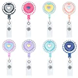 Soleebee 8 Pack Bling Crystal Rhinestones Retractable ID Badge Reels 24 inch Retractable Cord Nurse Badge Holder with 360° Swivel Alligator Clip (Love Heart)
