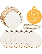 """Jolik 100 Pieces Wooden Ornaments Unfinished, 3.5""""Round Blank Wood Discs"""