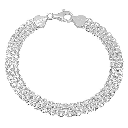 925 Sterling Silver Nickel-Free 7.4mm Bismark Chain Bracelet Made in Italy, 9