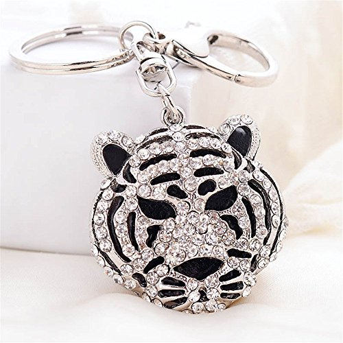 (JewelBeauty Fashion Crystal 3D Tiger Head Key Ring Purse Bag Keychain Car Bag Pendant Decoration Gift (Round Tiger)
