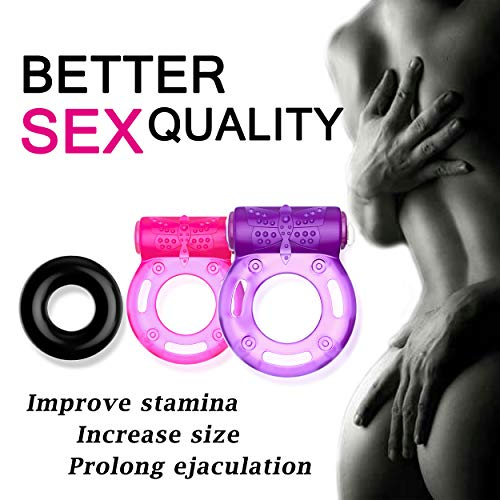 Cock-Ring-Set--2-Vibrating-Cock-Rings-w-Clit-Stimulator-1-Standard-Penis-Ring--Erection-Enhancing-Sex-Toy-for-Men-and-Couples