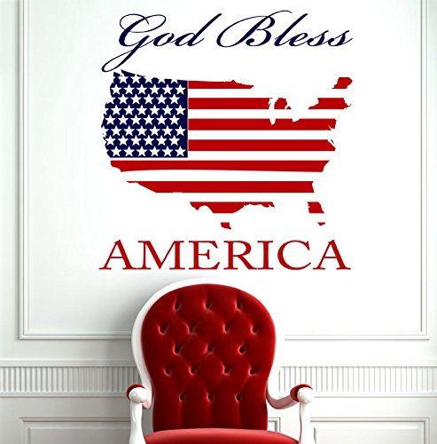 Patriotic Gift for Women or Men - God Bless America Vinyl Wall Decal with USA Map Silhouette - American Flag Rustic Home - Lady Liberty Silhouette