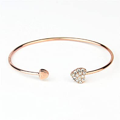 Gold Plated Crystal Double Heart Bangle by Diane Lo/'ren