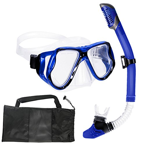 IJYD Snorkel Set, for Adult Youth Snorkeling, Dry Top Snorkel and Frameless Mask Wide View for Free Diving, Low-Volume Goggles Anti-Fog Anti-Leak Comfortable FDA Mouthpiece Easy Breathing (Blue)