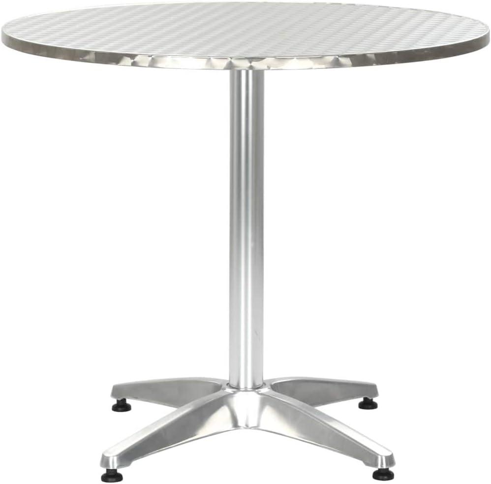 Tidyard Mesa de Jardin de Acero Inoxidable Redonda de Plata de Aluminio 80 x 70 cm de diámetro x Altura: Amazon.es: Hogar