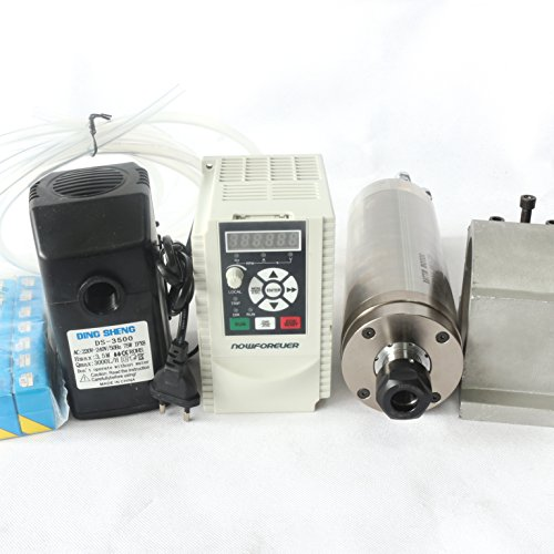 2.2KW Waterproof Water Cooled Spindle Motor ER20 Carved metal Kit & 2.2kw 220V Inverter VFD 2HP & 80mm Clamp Mount & 75W Water Pump & 6M Pipe & 14pcs / Set ER20 Collet for CNC Router Engraving Machine